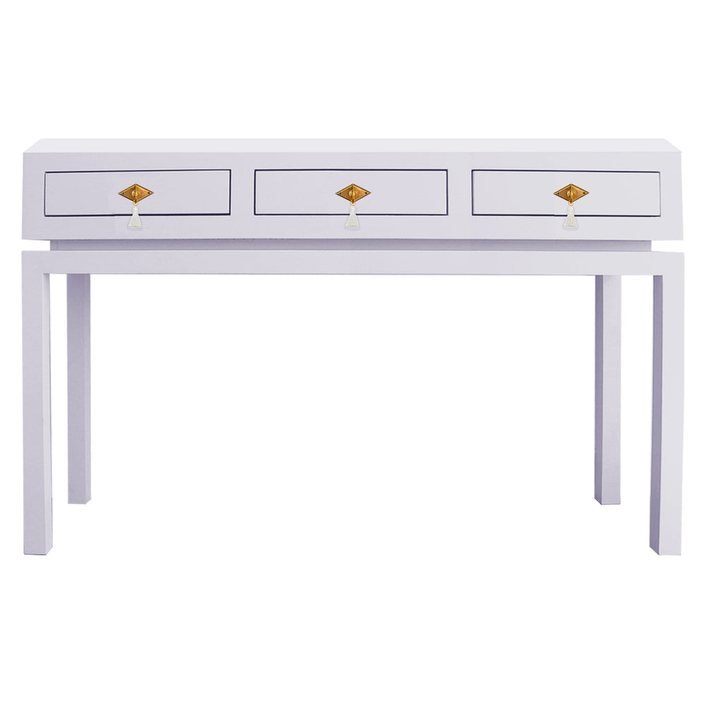 Hamilton Large Console Table with Brass Diamond Tassel Hardware