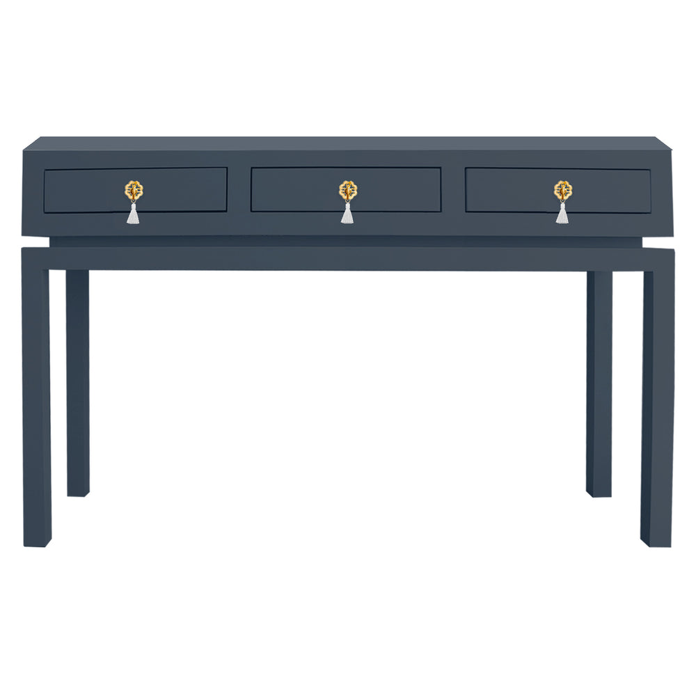 Hamilton Large Console Table with Brass Floral Tassel Hardware