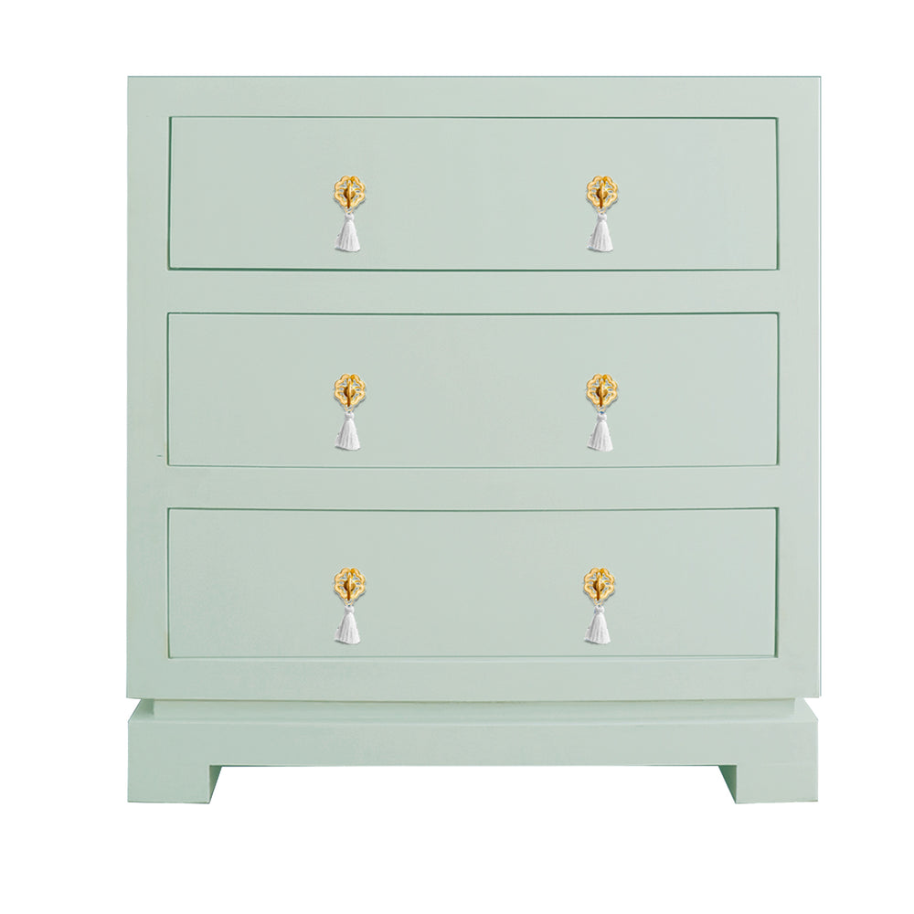 Eden Three Drawer Chest with Brass Floral Tassel Hardware