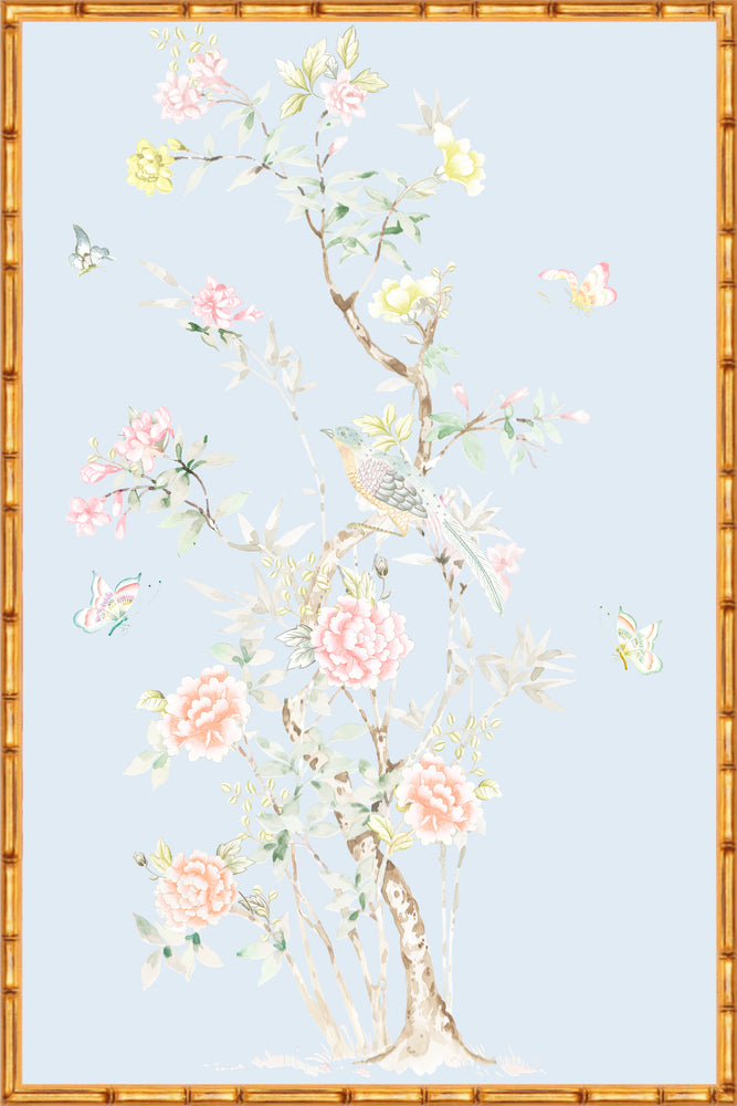 """Chinoiserie Garden 1"" Framed Panel in ""Sky"" by Lo Home X Tashi Tsering"