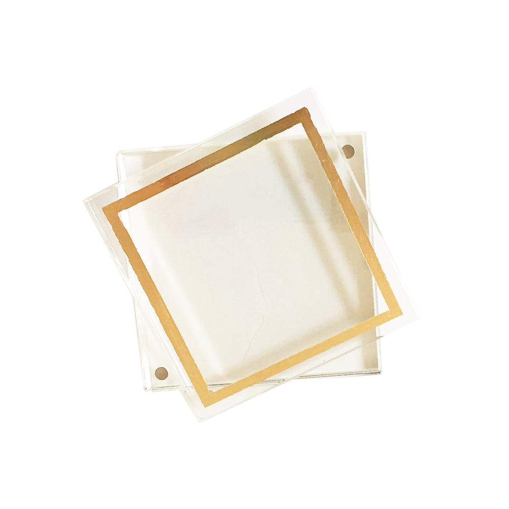 Acrylic Display Block Frame with Gold Leaf Detail