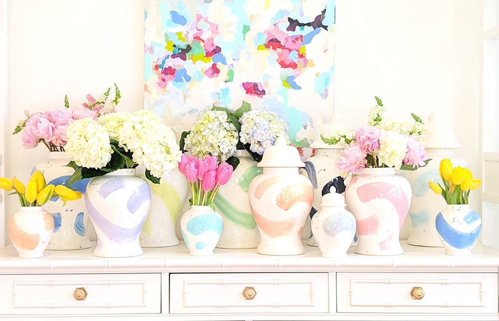 Coral Brushstroke Ginger Jars