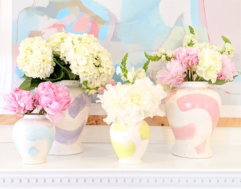 Hydrangea Light Blue Brushstroke Ginger Jars