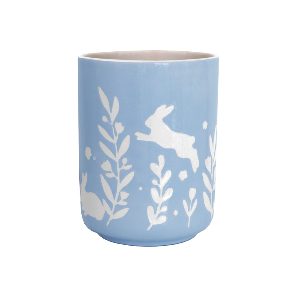 """Bunnies at Play"" Large Vase/ Utensil Holder"