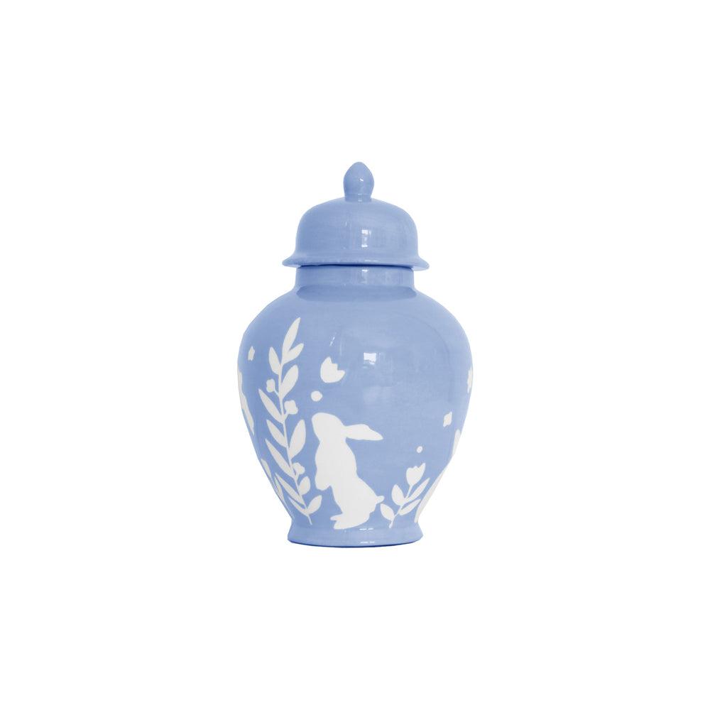 """Bunnies at Play"" Ginger Jars in French Blue"
