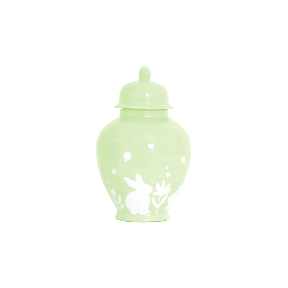 """Bunnies at Play"" Ginger Jars in Spring Green"