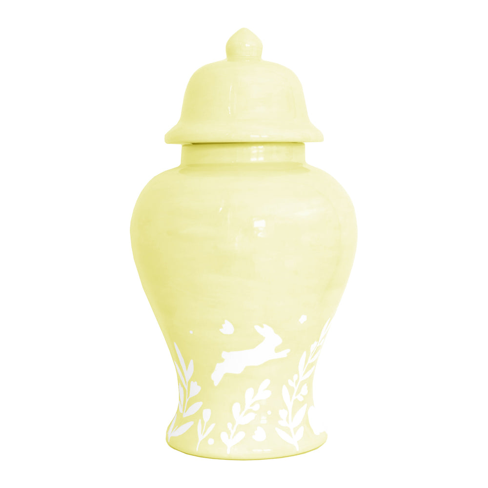 """Bunnies at Play"" Ginger Jars in Light Yellow"