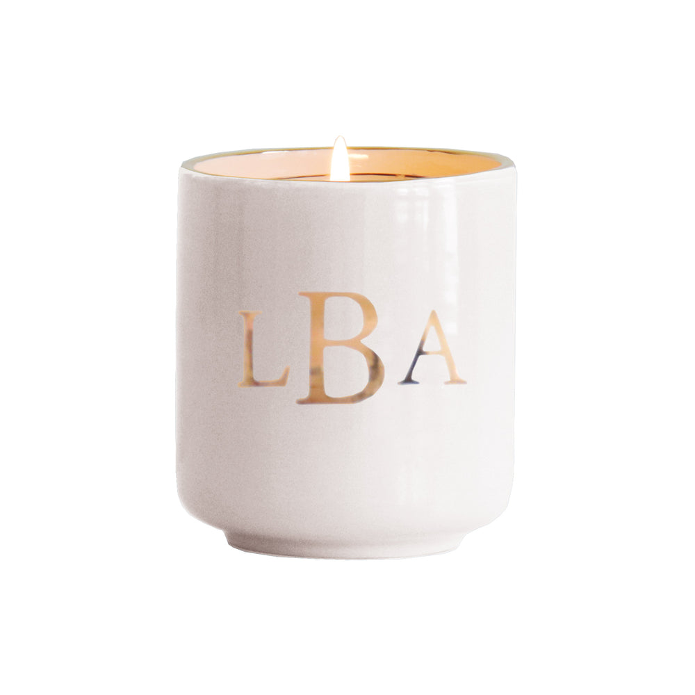 Classic Monogram Refillable Candle Holder and Pure Beeswax Candle