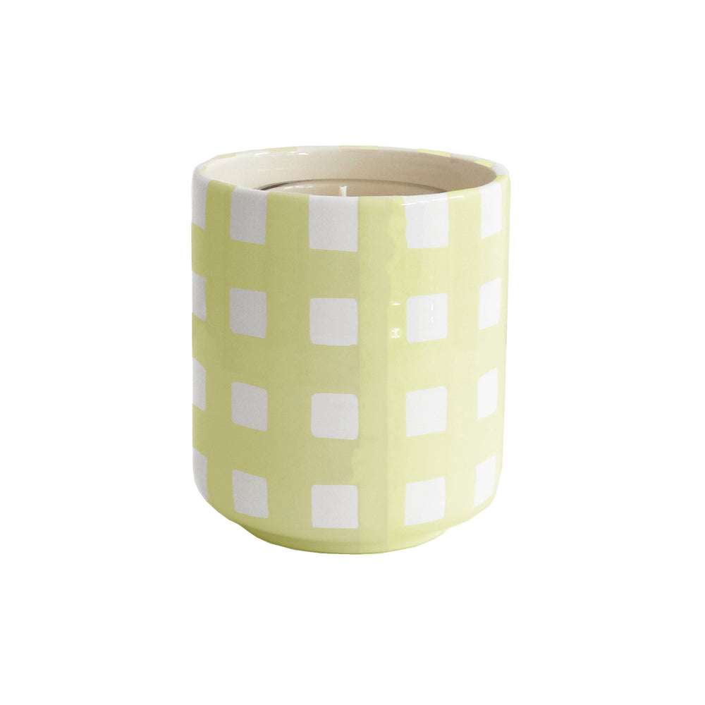 Gingham Refillable Candle Holder and Pure Beeswax Candle