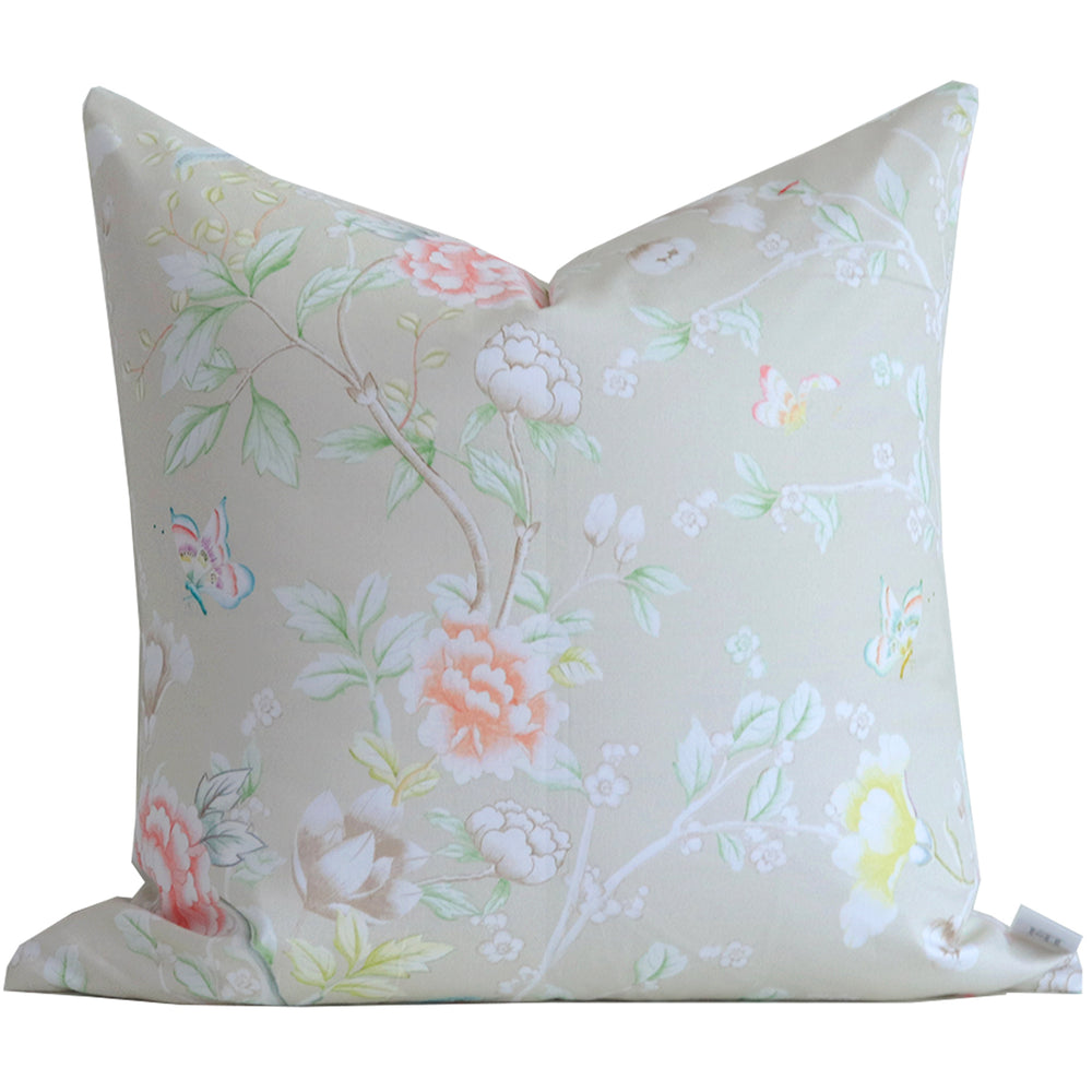 """Chinoiserie Garden"" Pillow by Lo Home x Tashi Tsering in Dune"