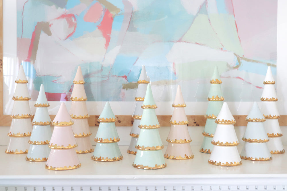 White Christmas Trees with 22K Gold Brushstroke Accent