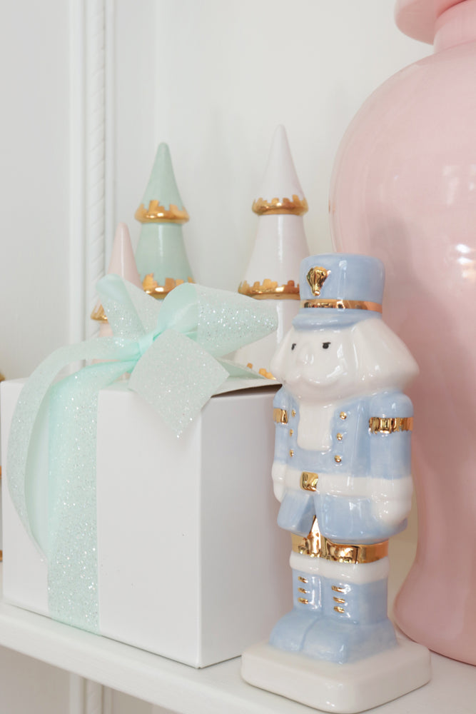 Sea Glass Christmas Trees with 22K Gold Brushstroke Accent