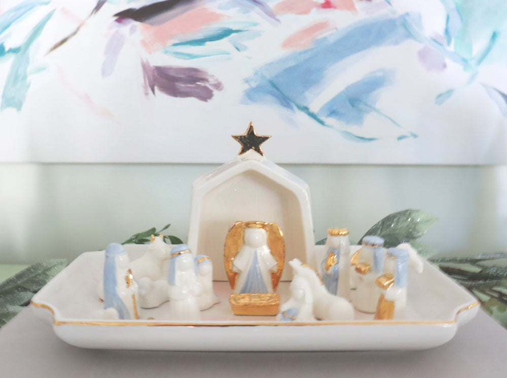 Light Blue Hand-Crafted 14 Piece Nativity Set with 22K Gold Accents