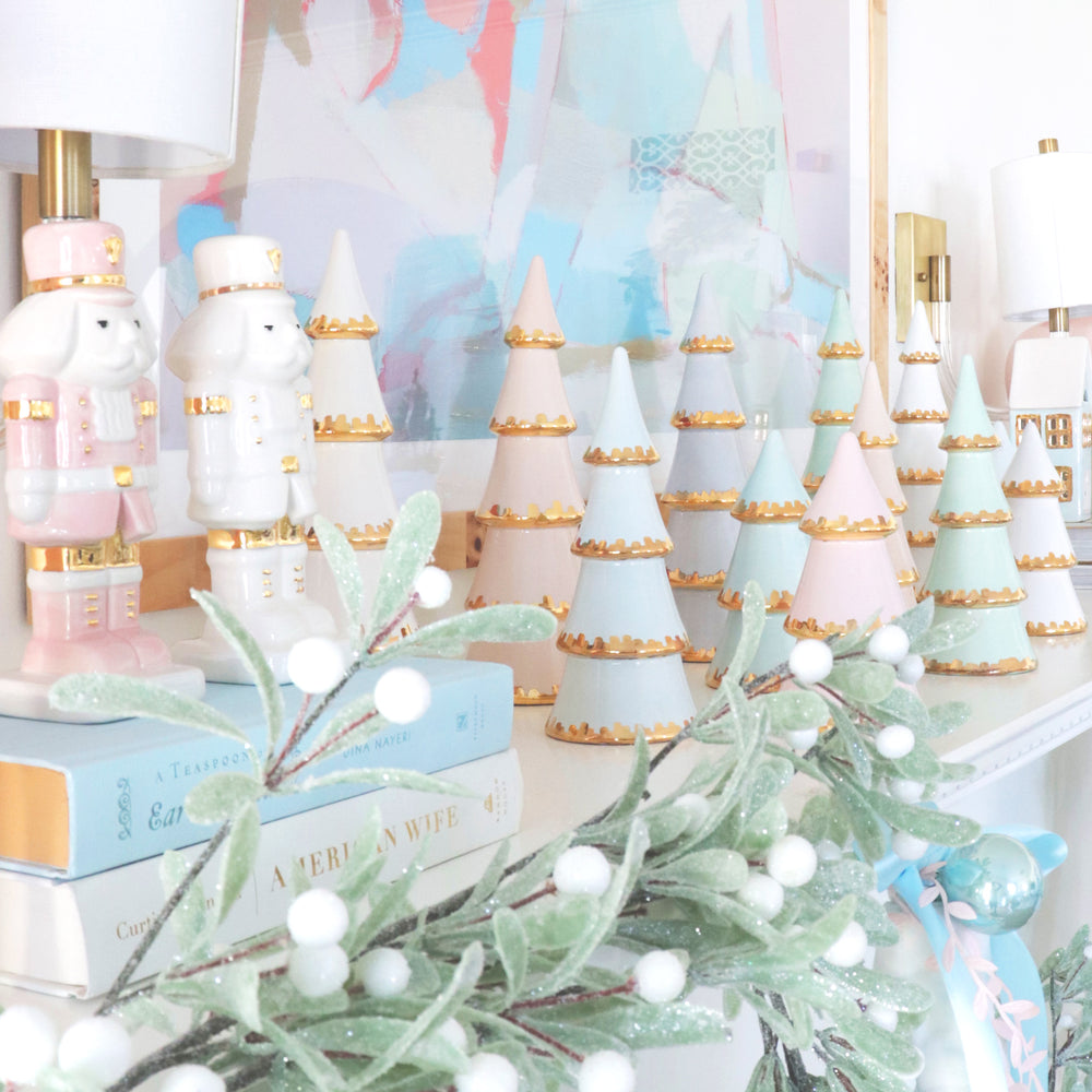 Aqua Christmas Trees with 22K Gold Brushstroke Accent