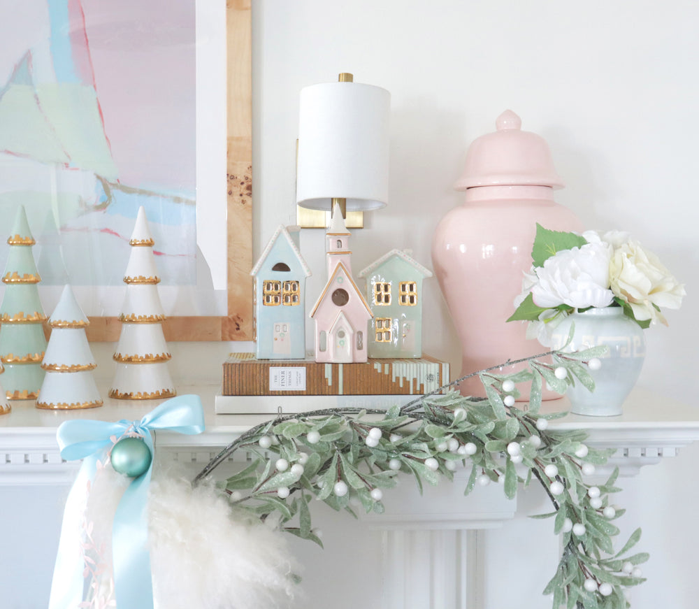Pastel Christmas Village 3-Piece Set with 22K Gold Accents