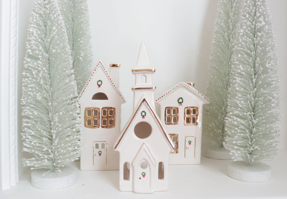 Ivory Christmas Village 3-Piece Set with 22K Gold Accents