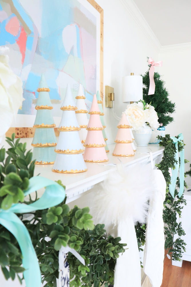 Pink Christmas Trees with Gold Brushstroke Accent
