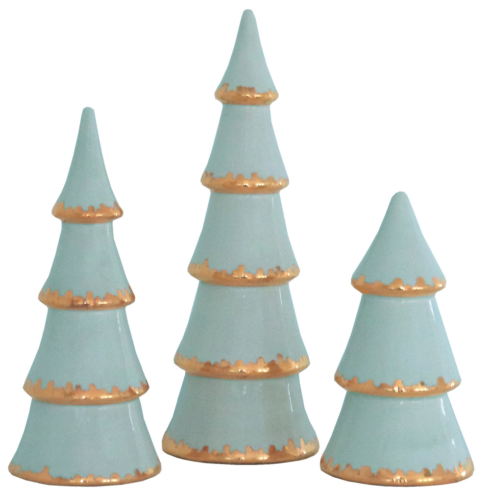 Aqua Christmas Trees with Gold Brushstroke Accent