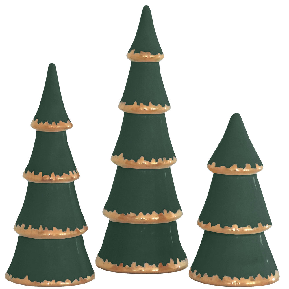Holiday Green Christmas Trees with Gold Brushstroke Accent