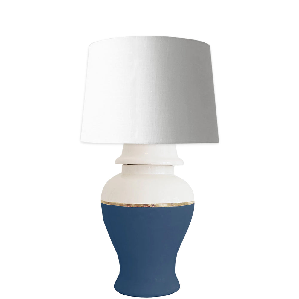 Navy Color Block Ginger Jar Lamp