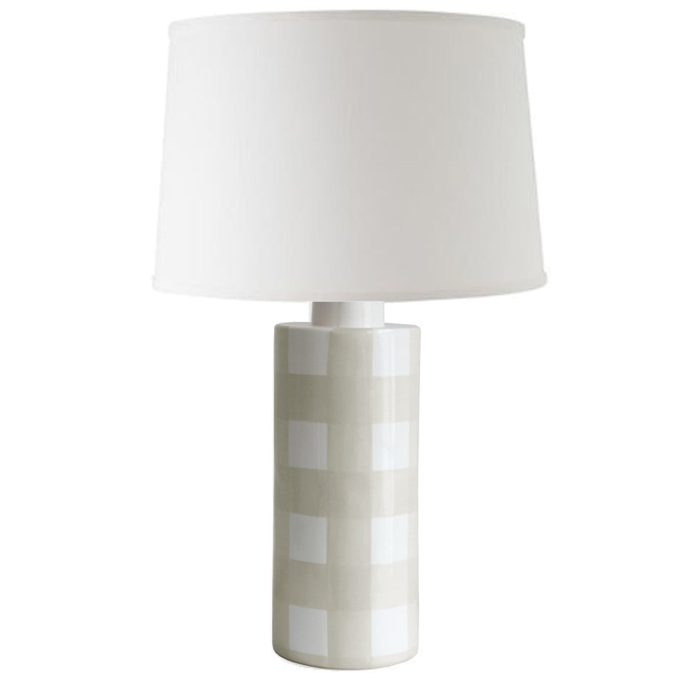 Beige Gingham Column Lamp