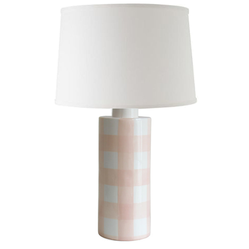 Blush Gingham Column Lamp