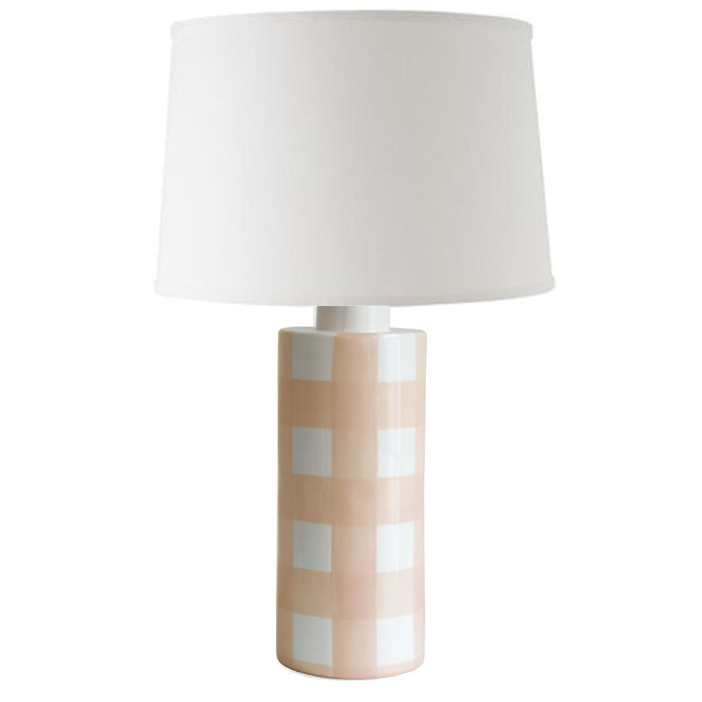 Coral Gingham Column Lamp