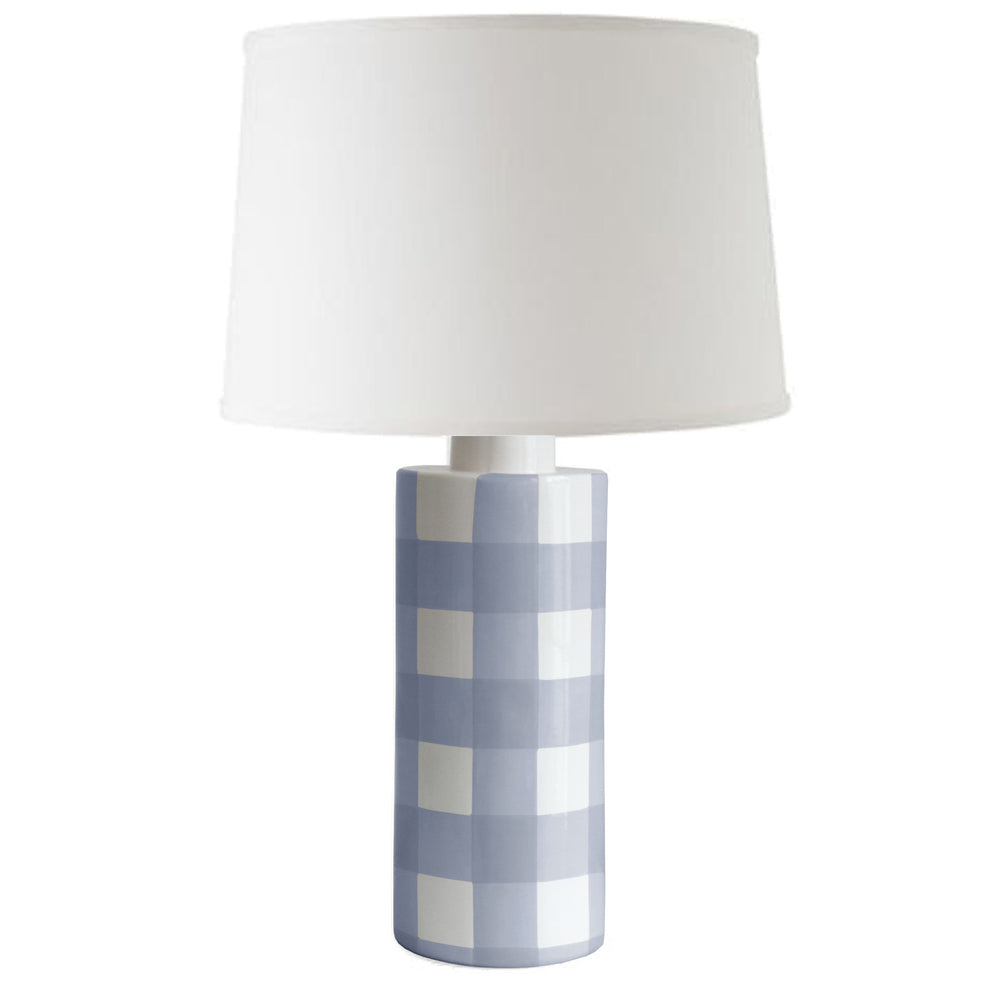 French Blue Gingham Column Lamp