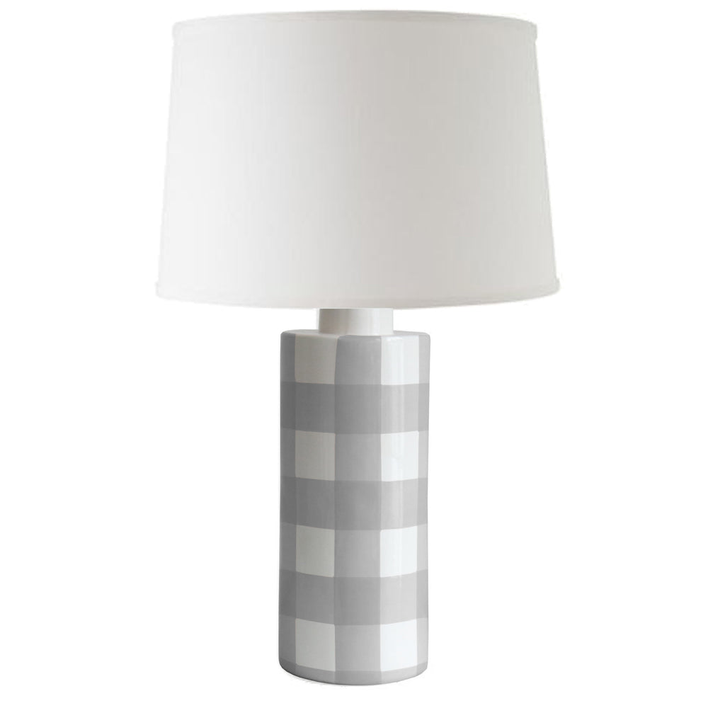 Graphite Gray Gingham Column Lamp