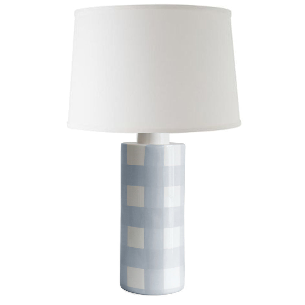 Hydrangea Light Blue Gingham Column Lamp