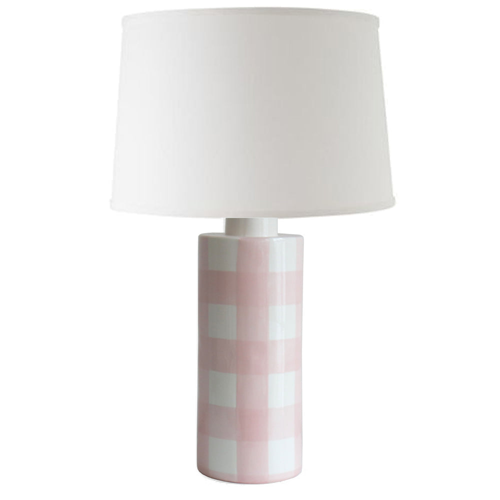 Pink Gingham Column Lamp