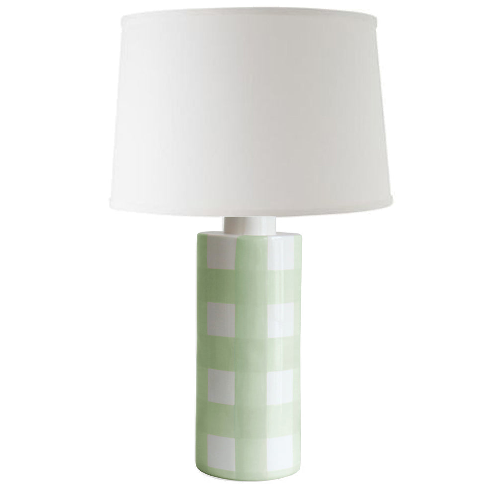 Sea Glass Gingham Column Lamp