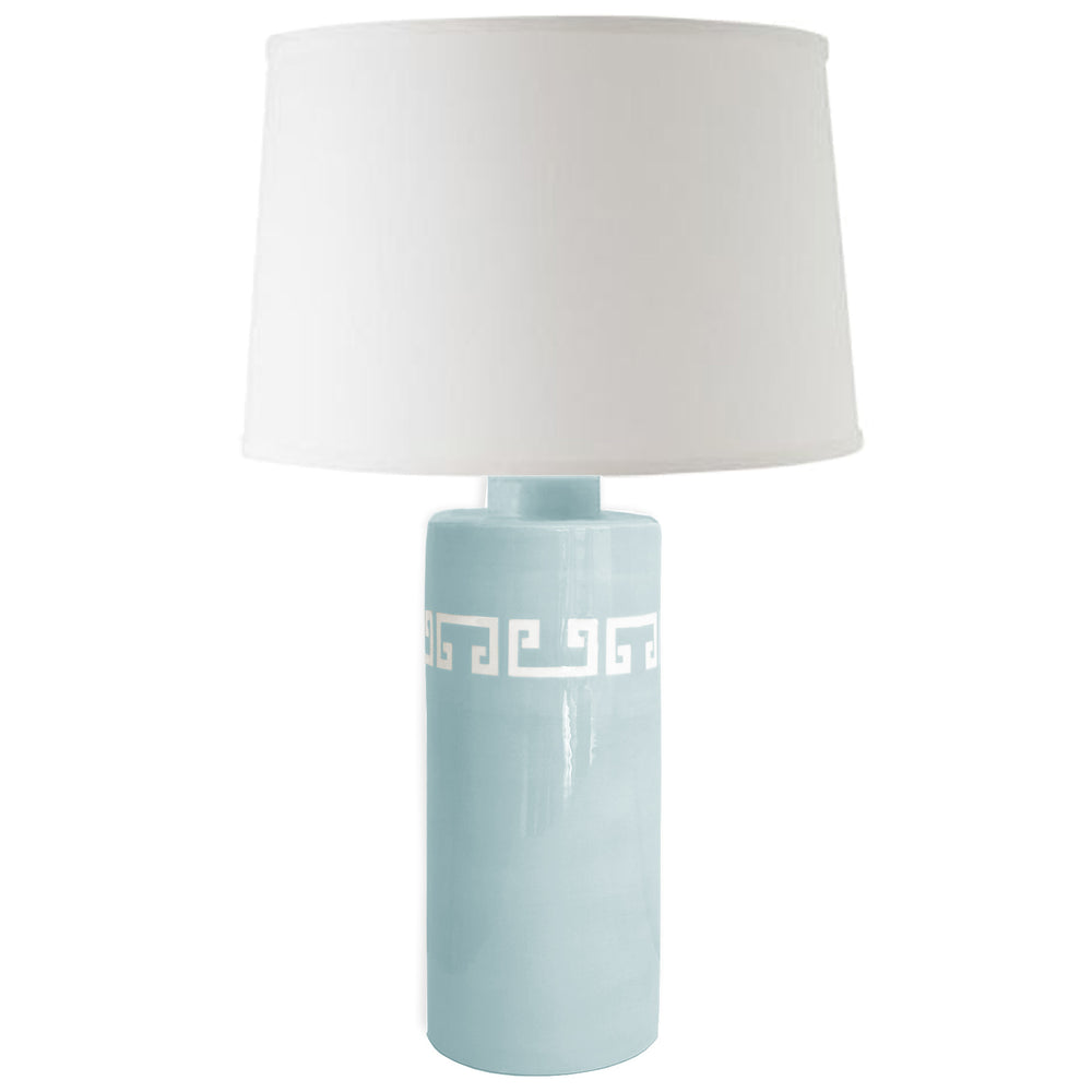 Aqua Greek Key Column Lamp