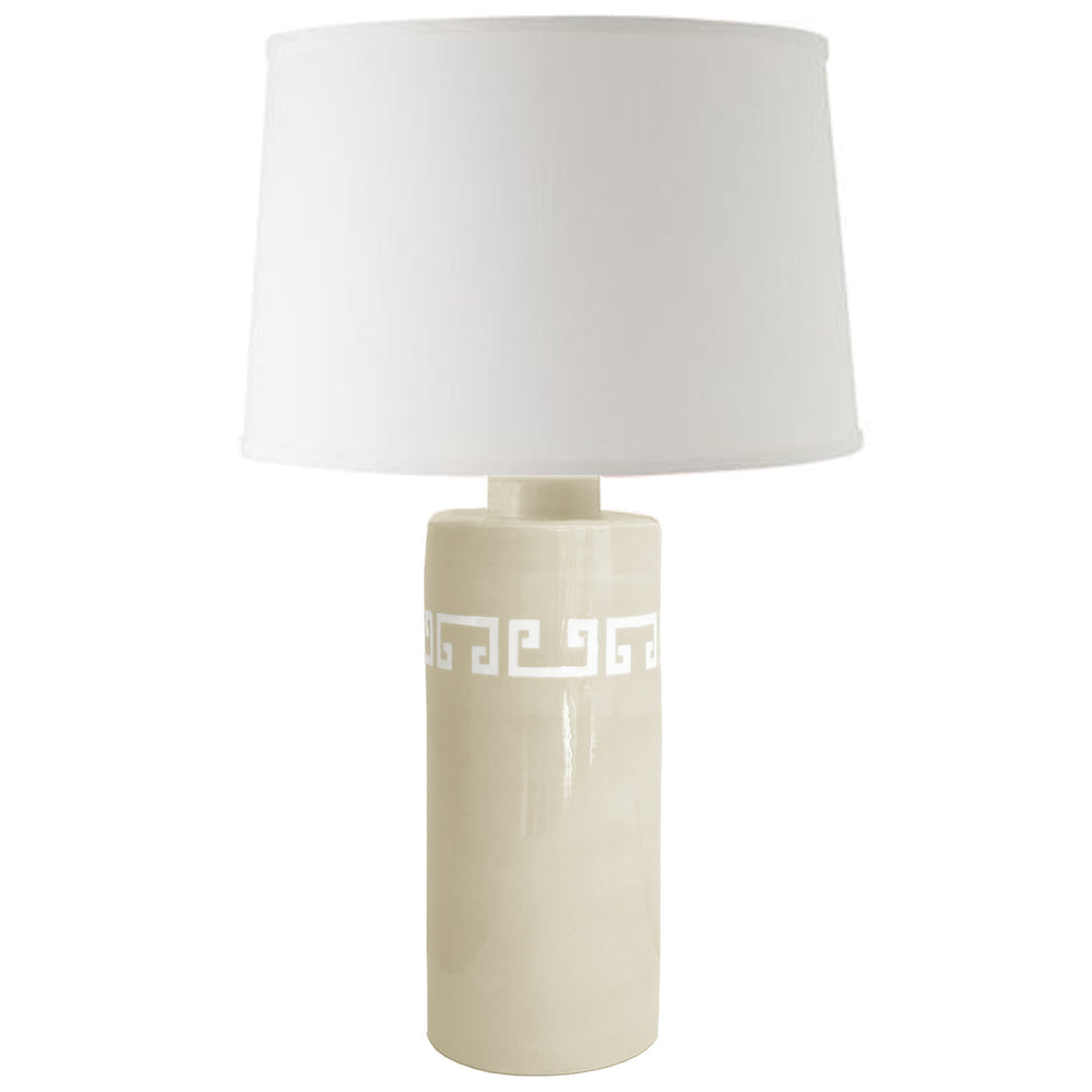 Beige Greek Key Column Lamp