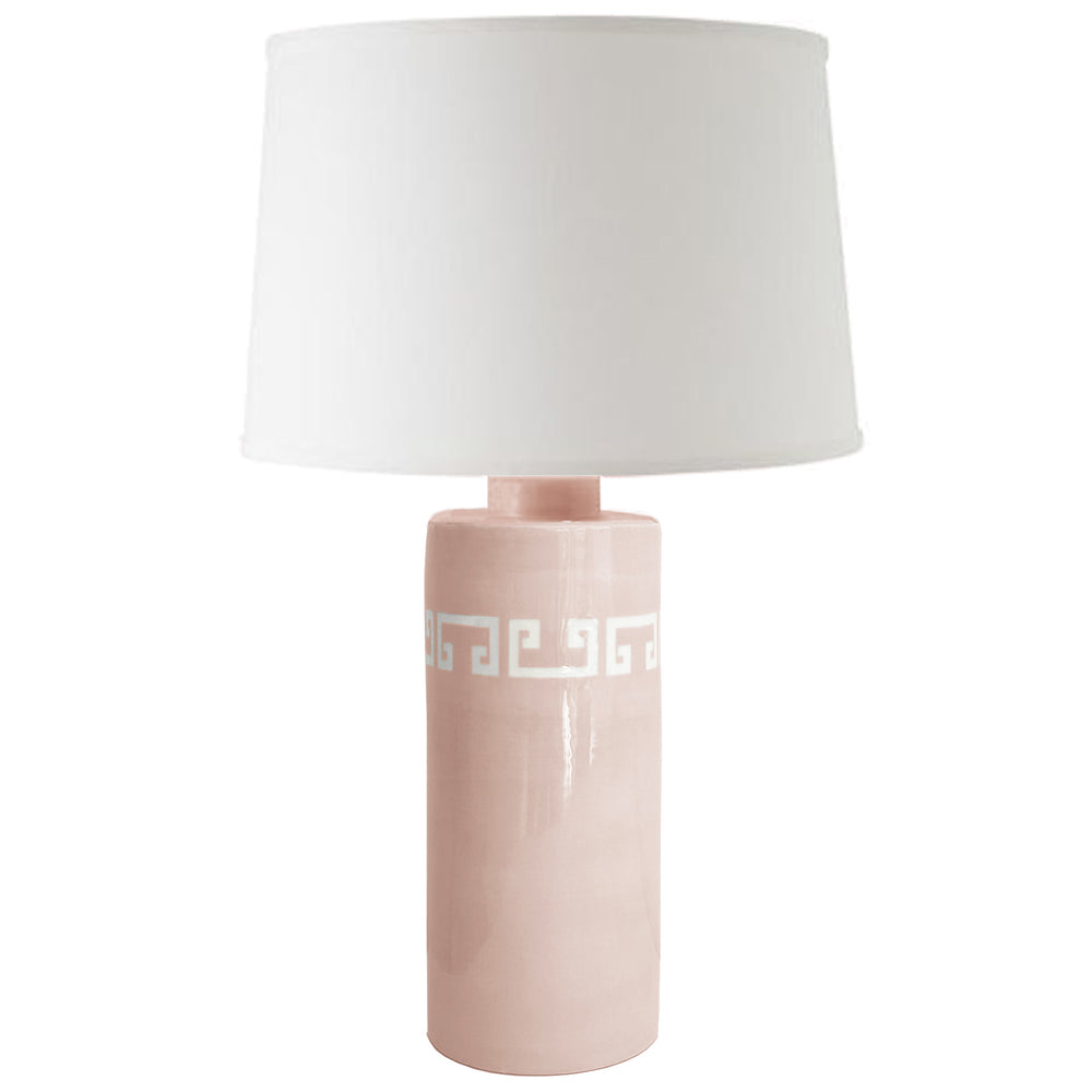Blush Greek Key Column Lamp