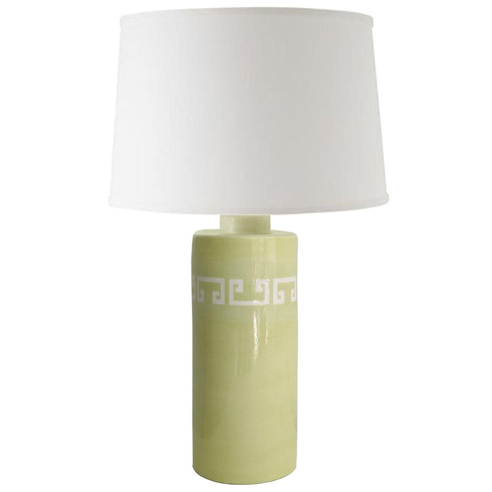 Celery Green Greek Key Column Lamp