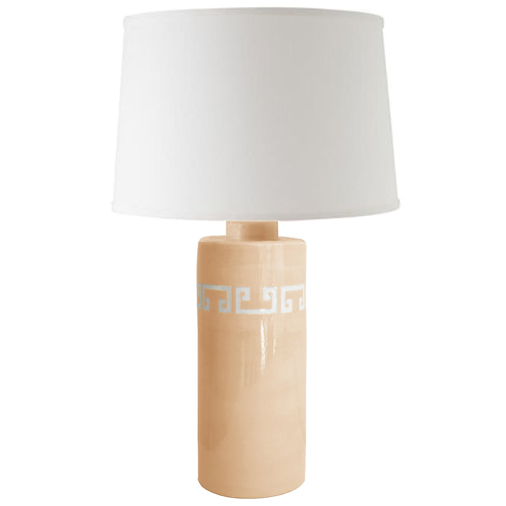 Coral Greek Key Column Lamp