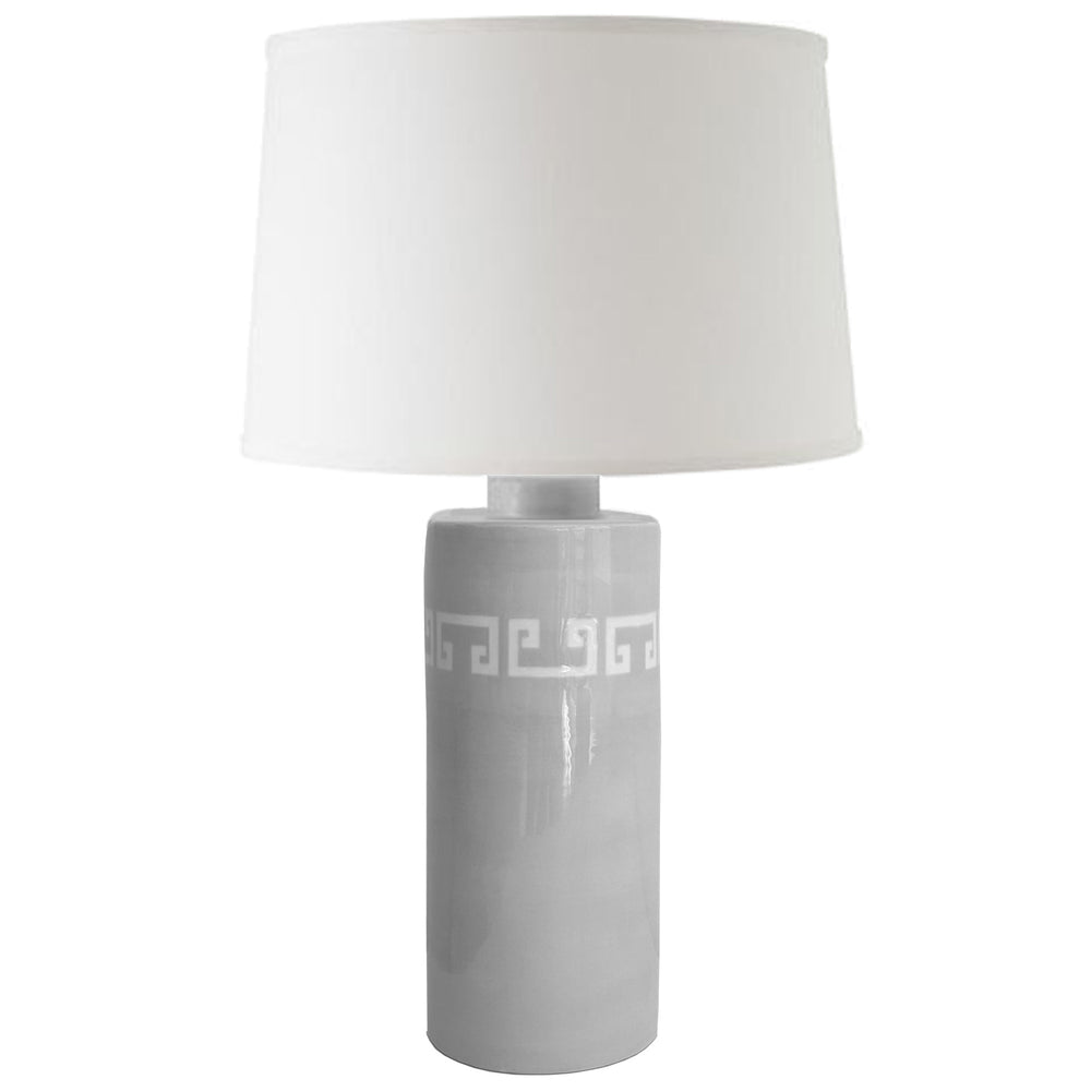 Light Gray Greek Key Column Lamp
