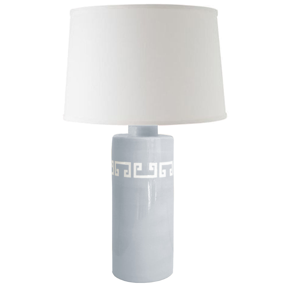 Hydrangea Light Blue Greek Key Column Lamp