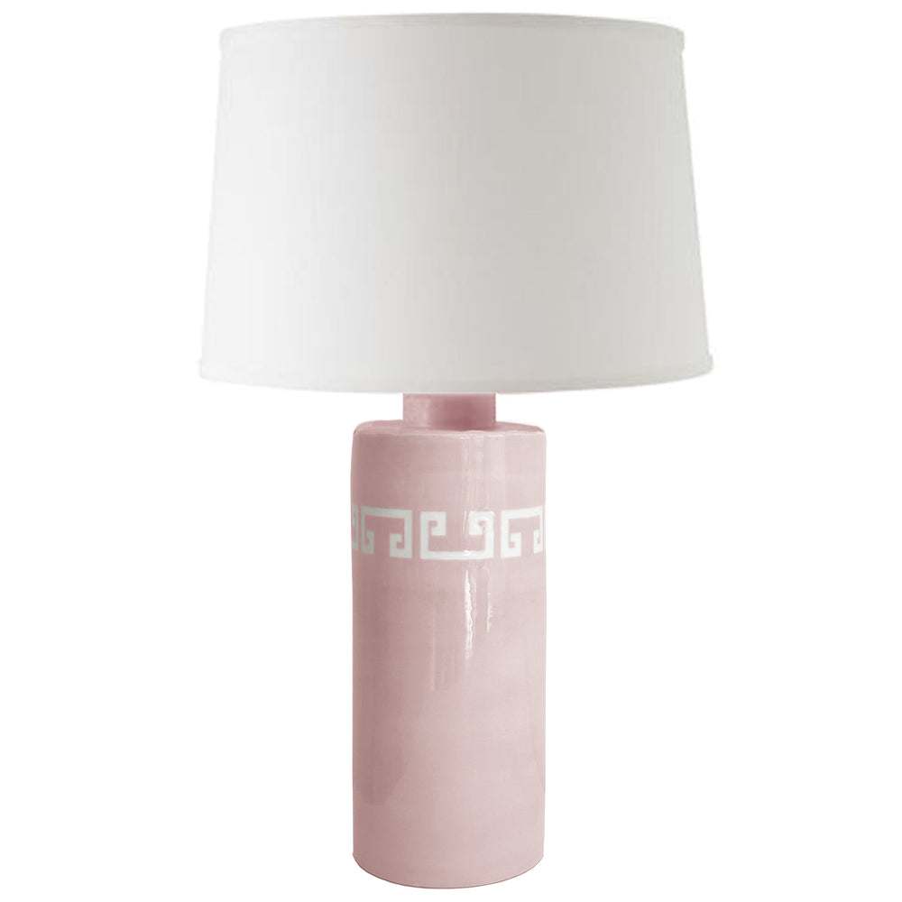 Cherry Blossom Pink Greek Key Column Lamp