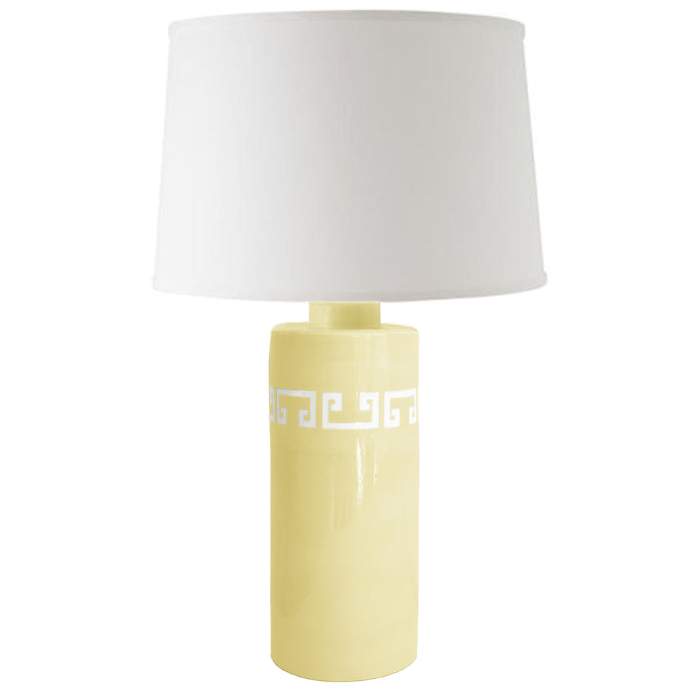 Light Yellow Greek Key Column Lamp