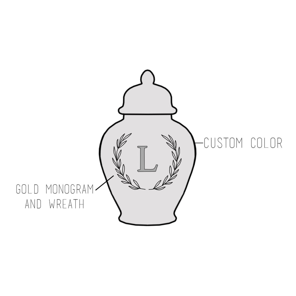 Custom Color Laurel Single Letter Monogram Ginger Jars