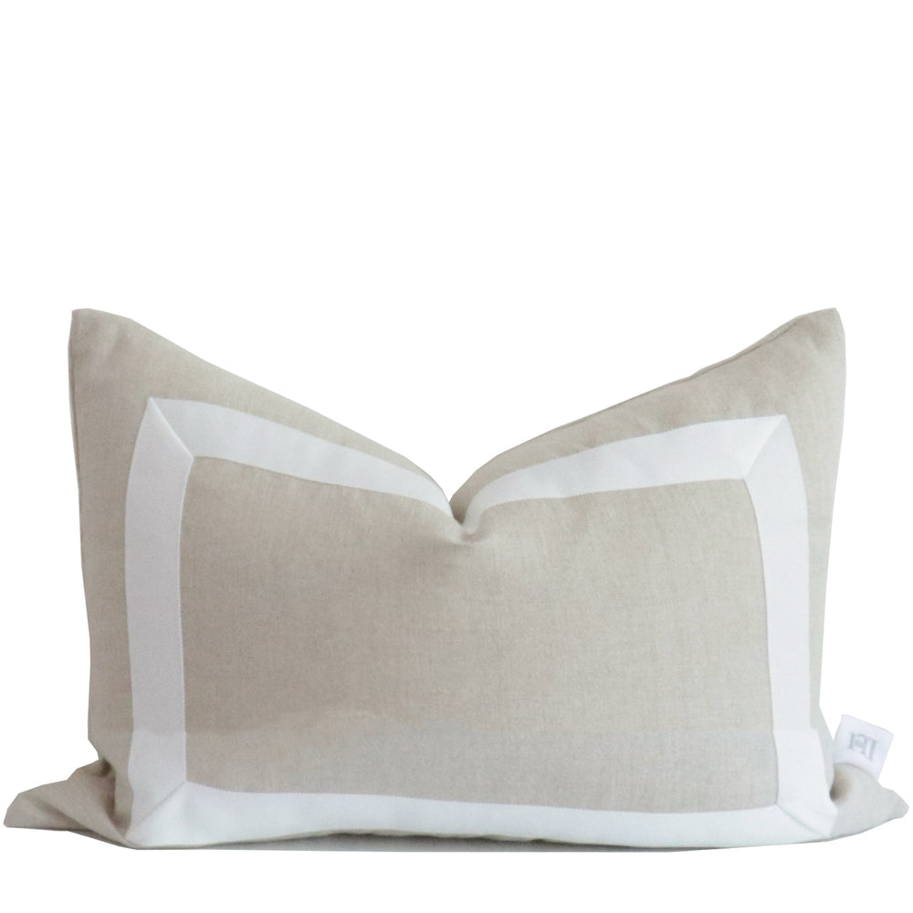 Dune Organic Linen Pillow with White Ribbon Trim