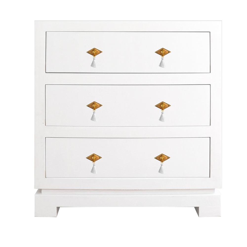 Eden Three Drawer Chest with Brass Diamond Hardware