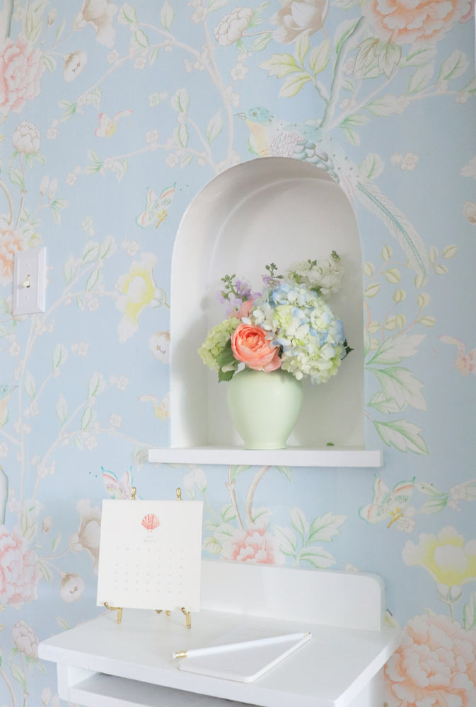 """Chinoiserie Garden"" Wallpaper in Sky by Lo Home x Tashi Tsering"