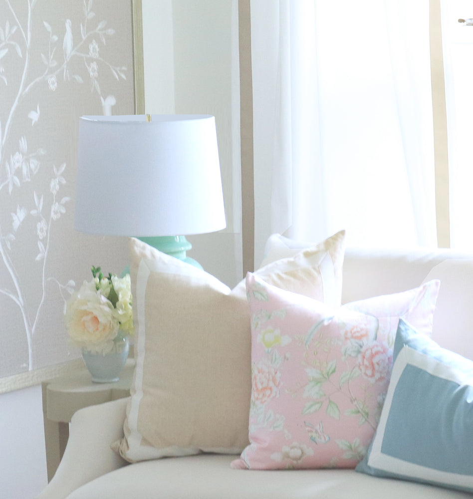 """Chinoiserie Garden"" Pillow by Lo Home x Tashi Tsering in Blush"