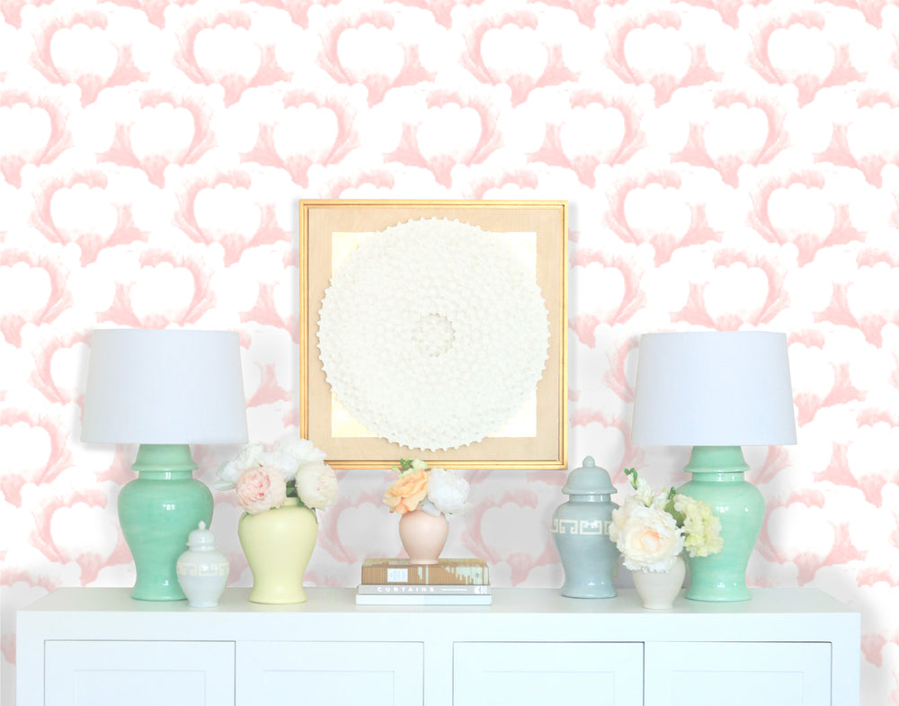 """Garden Scallop"" Wallpaper in Blush by Lo Home x Tashi Tsering"