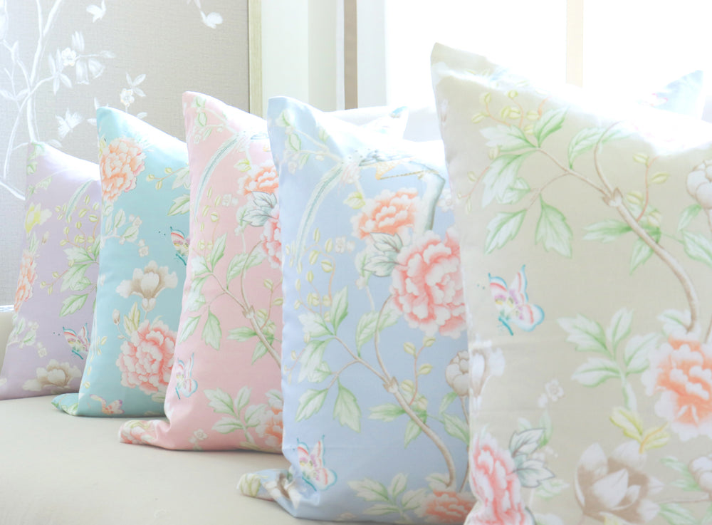 """Chinoiserie Garden"" Pillow by Lo Home x Tashi Tsering in Lake"