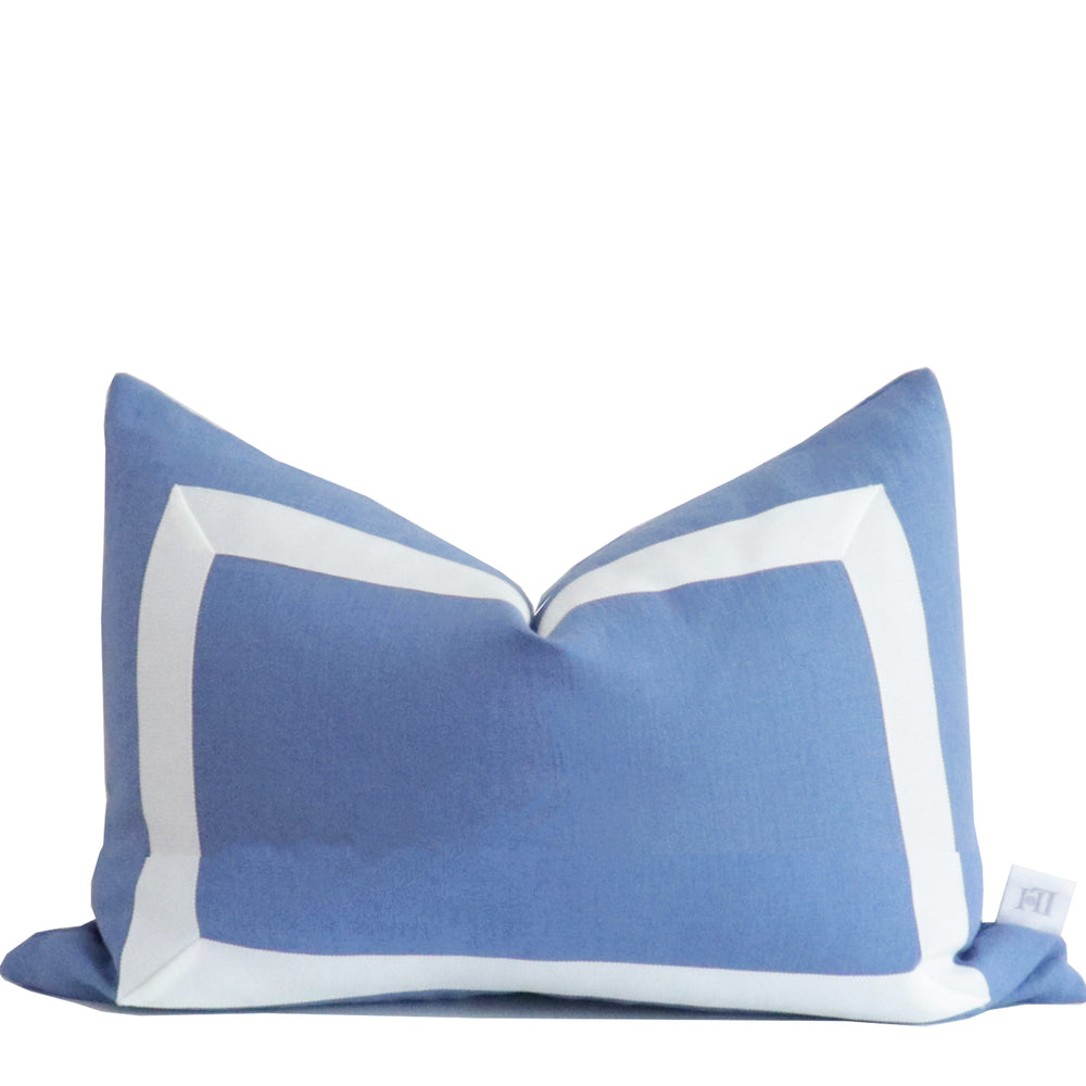 French Blue Organic Linen Pillow with White Ribbon Trim