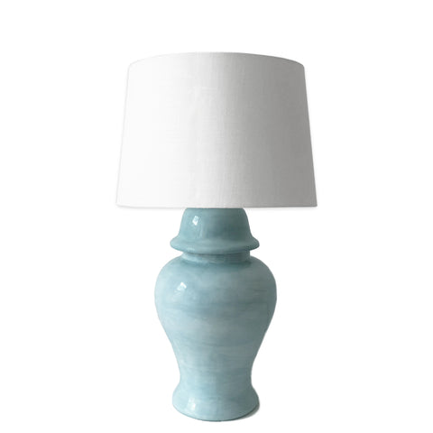 Aqua Hand-Painted Ginger Jar Lamp